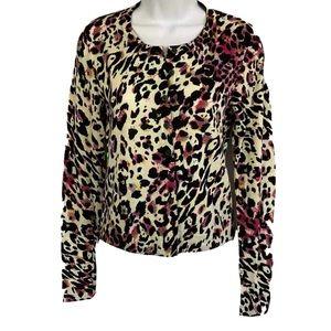 DVF Ibiza Leopard Wool Cardigan Sweater
